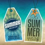summer hang tags - stock illustration