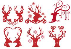 Christmas deer stag heads, vector - stock illustration
