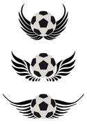 soccer ball with wing - stock illustration