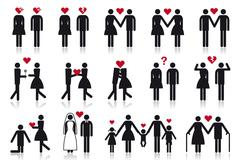 People in love, vector icon set Stock Illustration