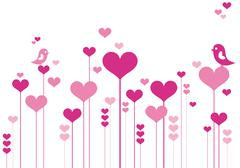 Pink heart flowers Stock Illustration