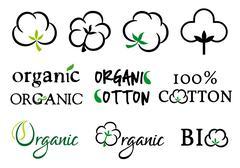 Organic cotton, vector set Stock Illustration