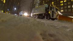 NYC Snow Plows - Juno Blizzard - Regular Speed - stock footage