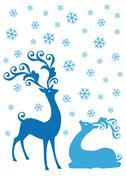 Stock Illustration of Christmas deers in snowfall, vector