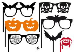 halloween booth props, vector - stock illustration
