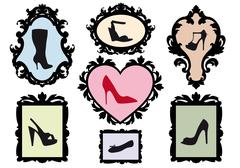 shoe silhouettes in antique frames, vector set - stock illustration