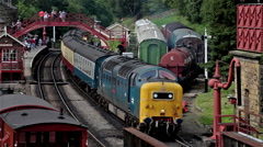CLASS 55 55022 ROYAL SCOTS GREY ENGINE, GOATHLAND, NORTH YORKSHIRE Stock Footage