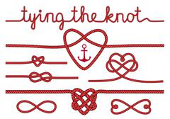 Stock Illustration of rope hearts and knots, vector set
