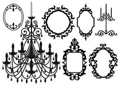 Frames and chandelier, vector Stock Illustration