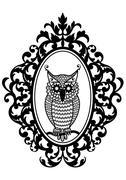 owl in frame, vector - stock illustration