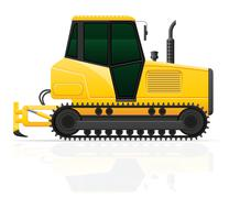 Caterpillar tractor with plow vector illustration Stock Illustration