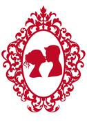 Kissing couple in frame, vector Stock Illustration