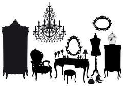 Vintage dressing room, vector Stock Illustration