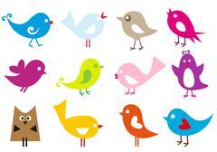 vector birds - stock illustration