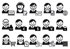 Business people vector icon set Stock Illustration