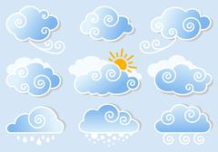 Blue sky with clouds, vector Stock Illustration