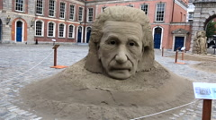 Sculpture Einstein and the theory of black hole - stock footage