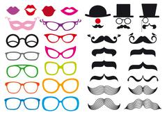Mustache and spectacles, vector set Stock Illustration