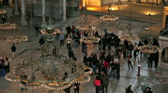 CHANDELIERS & TOURISTS IN HAGHIA SOPHIA, ISTANBUL, TURKEY Stock Footage