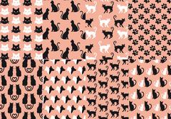 cat and dog seamless pattern, vector - stock illustration