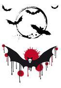 Halloween bats, vector set Stock Illustration