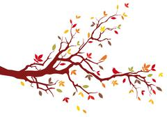 Autumn tree branch, vector background - stock illustration