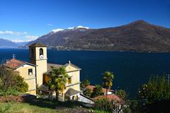 Church of San Bartolomeo at Lago Maggiore Stock Photos