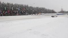 Winter track race Stock Footage