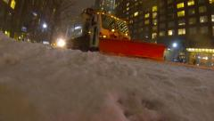 NYC Snow Plows - Juno Blizzard  SLOW MO Stock Footage