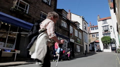 STREET VIEW &  LOCAL SHOPS, ROBIN HOOD'S BAY, NORTH YORKSHIRE Stock Footage