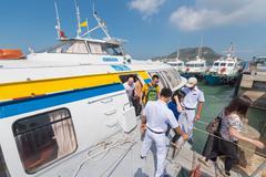 Passengers take off hydrofoil from saigon in vungtau Stock Photos