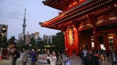 Temple Asakusa, Illuminated SkyTree TV tower and Pagoda at night, Tokyo, Japan Stock Footage