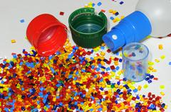 plastic parts with resin - stock photo