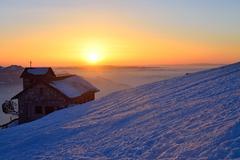 Sundown at Rigi Kulm, Switzerland - stock photo