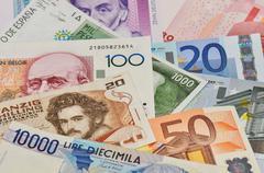Old european currencies Stock Photos