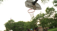Street basketball, swish, steadicam Stock Footage