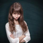 stubborn schoolgirl - stock photo