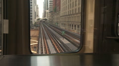 Chicago-El train-rail tracks looking rear Stock Footage