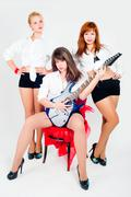 Musical band of girls Stock Photos