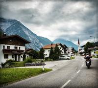 biker touring europe - stock photo