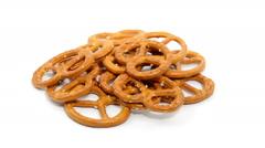 Mini pretzel rotate on white background Stock Footage