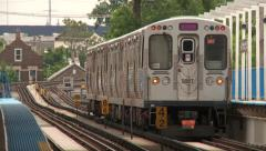Chicago-El train-tilt from wheels Stock Footage