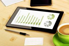 Business analysis, digital tablet with financial charts Stock Photos