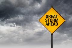 great storm ahead warning sign - stock photo