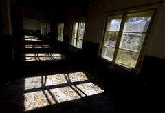 windows in an abandoned school - stock photo