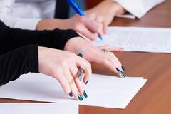 Handwriting girls - stock photo