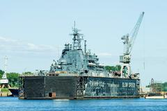 ship in the dry dock - stock photo