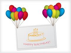 Birthday card design hanging on balloons Stock Illustration