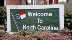 Welcome to North Carolina Sign at Welcome Center (1080-30FPS) Stock Footage