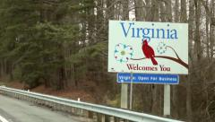 Virginia Welcomes you sign driving by (1080-30FPS) - stock footage